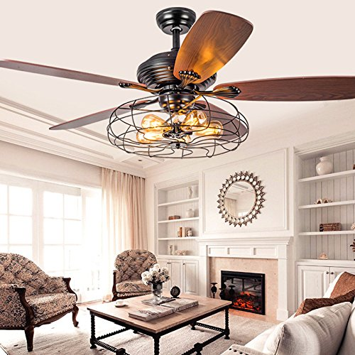 Industrial 42″ Fan Semi Flush Ceiling Light –