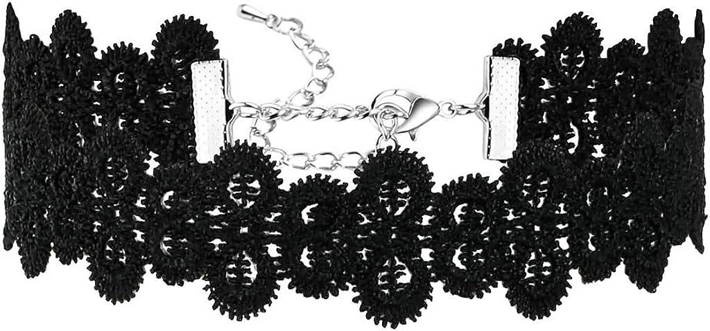 Daesar Joyería Mujer Joven Acero Inoxidable Terciopelo Velvet Wave Crochet Elegant Plata Negro Choker Necklace, 31.2+8.3CM