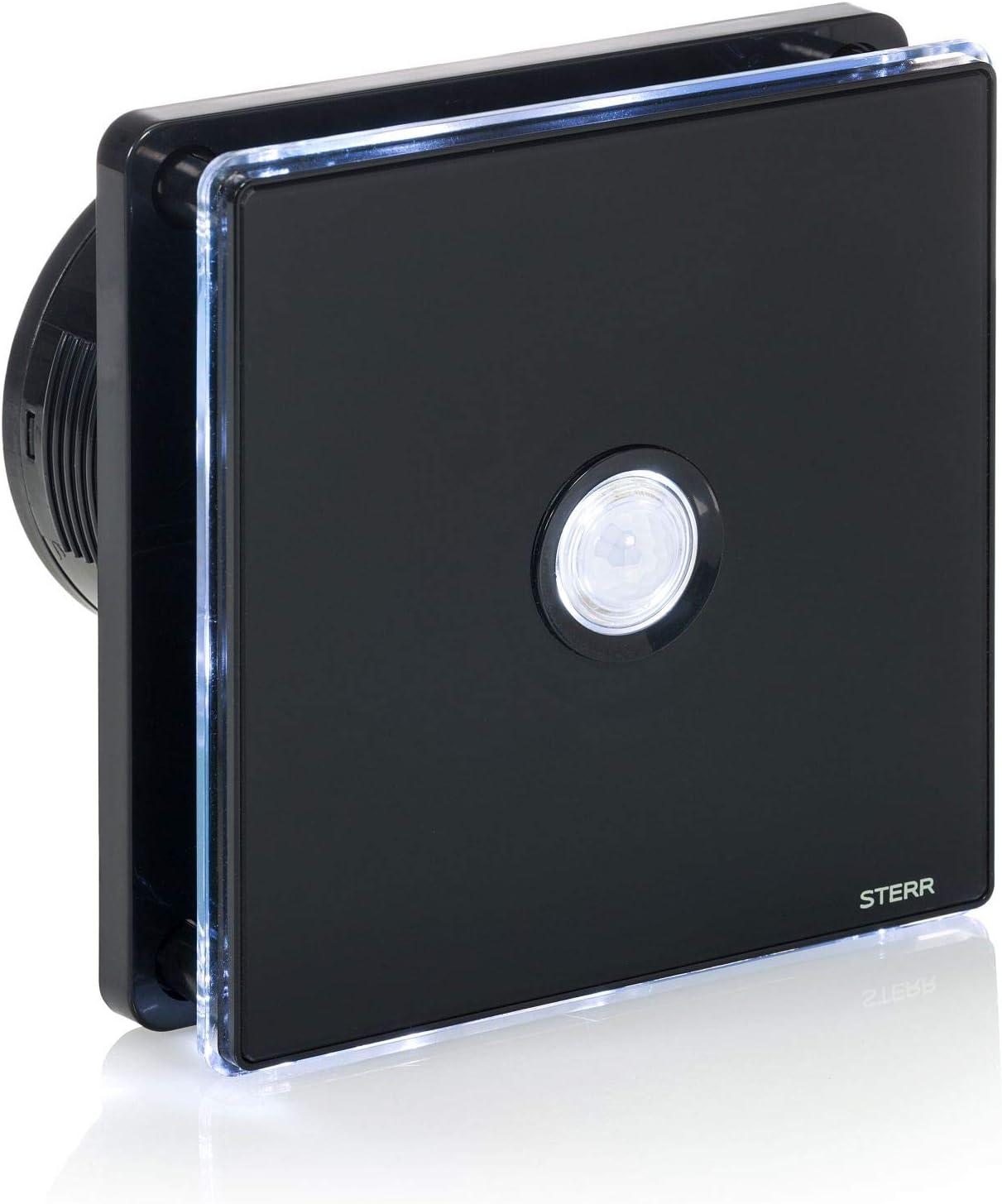 STERR - Negro extractor de baño con retroiluminación LED + PIR – BFS100LP-B