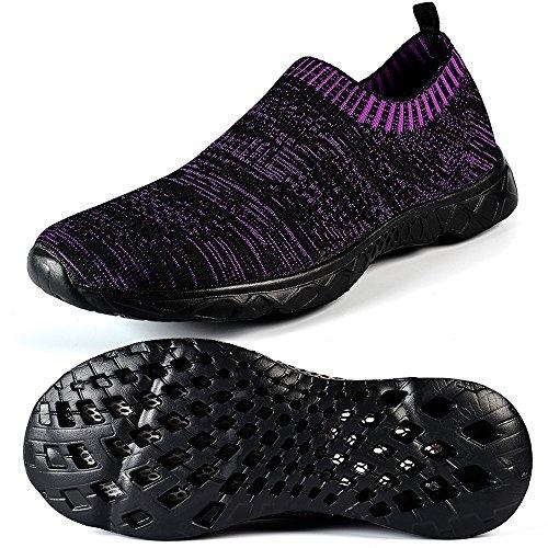 Mxson Frauen Slip On Sneaker Mesh Casual Sport Walking Strand Aqua Schwimmbad Wasser Schuhe Schwarz Lila