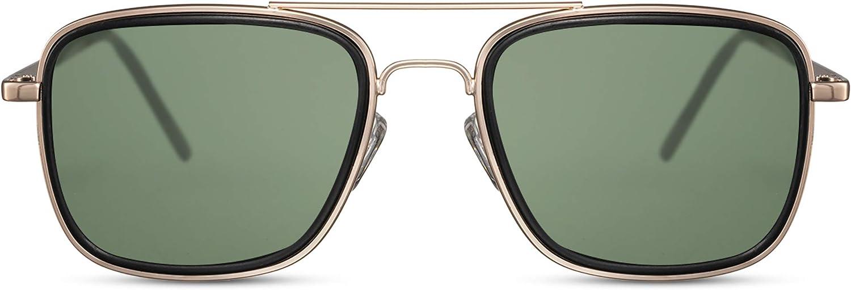 Cheapass Gafas de Sol Metal Piloto con Solapas Laterales Protección UV400 para Hombres