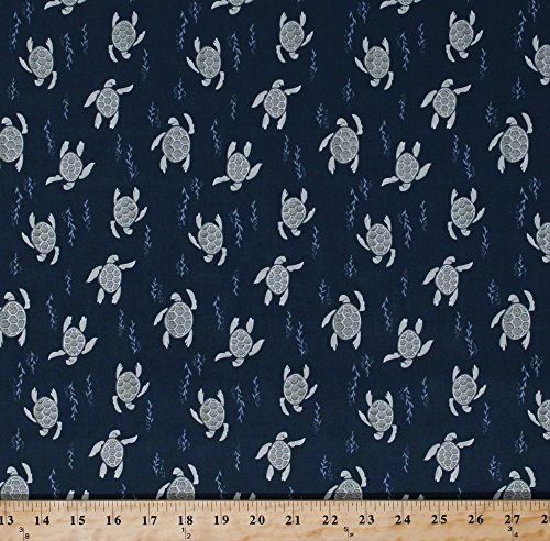 Cotton Sea Turtles Reptiles Swimming Water Stream River Sea Ocean Animals Navy Blue Cotton Fabric Print by the Yard ()