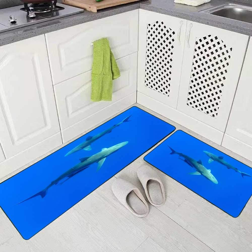 "Musesh 2 Pieces Kitchen Rugs and Mats Non Skid Washable Sharks Hawaii Oahu Kitchen Rug Set 17""X48""+17""X24"" Kitchen Carpets and Rugs Modern Kitchen Rug"