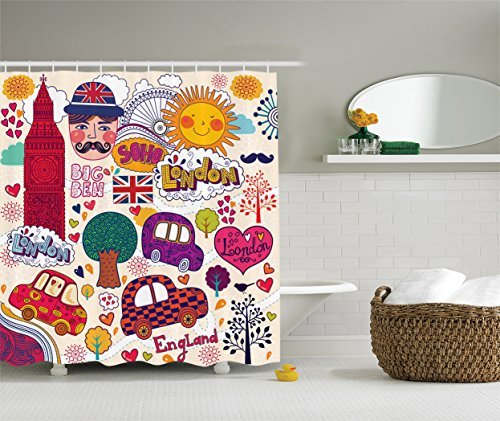 Ambesonne London Decor Collection, Set of Colorful Traditional British Symbols Drawing Big Ben Flag London Eye Ferris Wheel Image, Polyester Fabric Bathroom Shower Curtain, 75 Inches Long, - Ferris London Eye Wheel