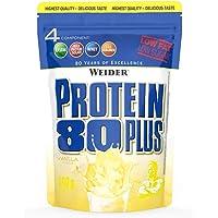 WEIDER Protein 80 Plus Eiweißpulver, Vanille, Low-Carb, Mehrkomponenten Casein Whey Mix für Proteinshakes, 500g