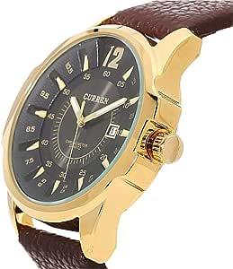 CURREN 8123 Golden Black Dial UNISEX Leather Strap Watch