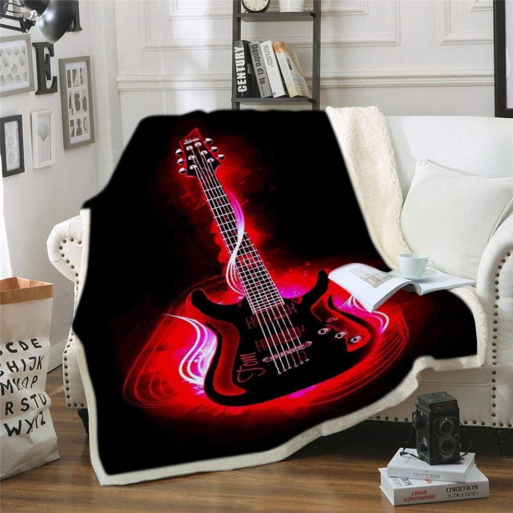 LIFUQING Manta para Guitarra Instrumento Cuerda Creatividad Creación Canción Digital Clásico Música Acústica Manta De Lana En La Cama-120x150cm