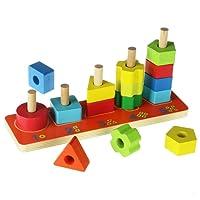 ACOOLTOY Giocattolo Legno Verniciato Colorato Puzzle Verticale 3D Colonna Gioco Bimbo da Impilare Contare Numero Forme Geometriche Stile Montessoriano Regalo Compleanno Natale per Bambini di 18 Mesi in su