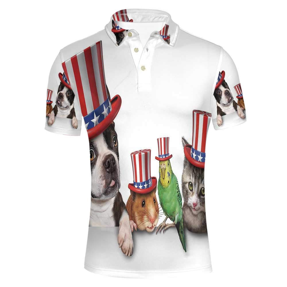 Fourth of July Stylish Polo Shirt,Cute Pet Animal Dog Cat Bird and Hamster with American Hat Celebration Image Decorative for Men,S