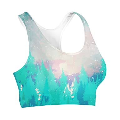 Queen of Cases Snowy Winter Forest Sports Bra - XS Sport-BH: Amazon ...