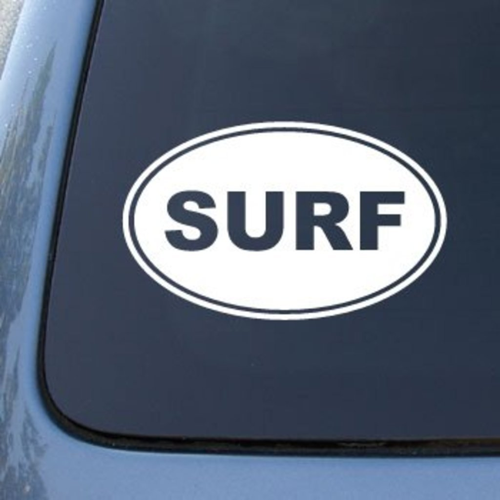 Vinyl Car Decal Sticker 5.5 X 3.5 In SURF EURO OVAL Surfing CCI207