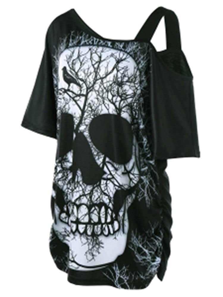 fc6b49a089f Chuanqi Plus Size Womens Skull Print Cold Shoulder Strappy Short Sleeve  Long T Shirt at Amazon Women s Clothing store