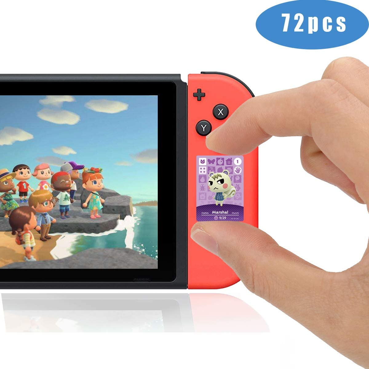 ACNH 72 PCS Rare Character Villager Cards NFC Tag Game Cards for Switch/Switch Lite/Wii U with Crystal Storage Box