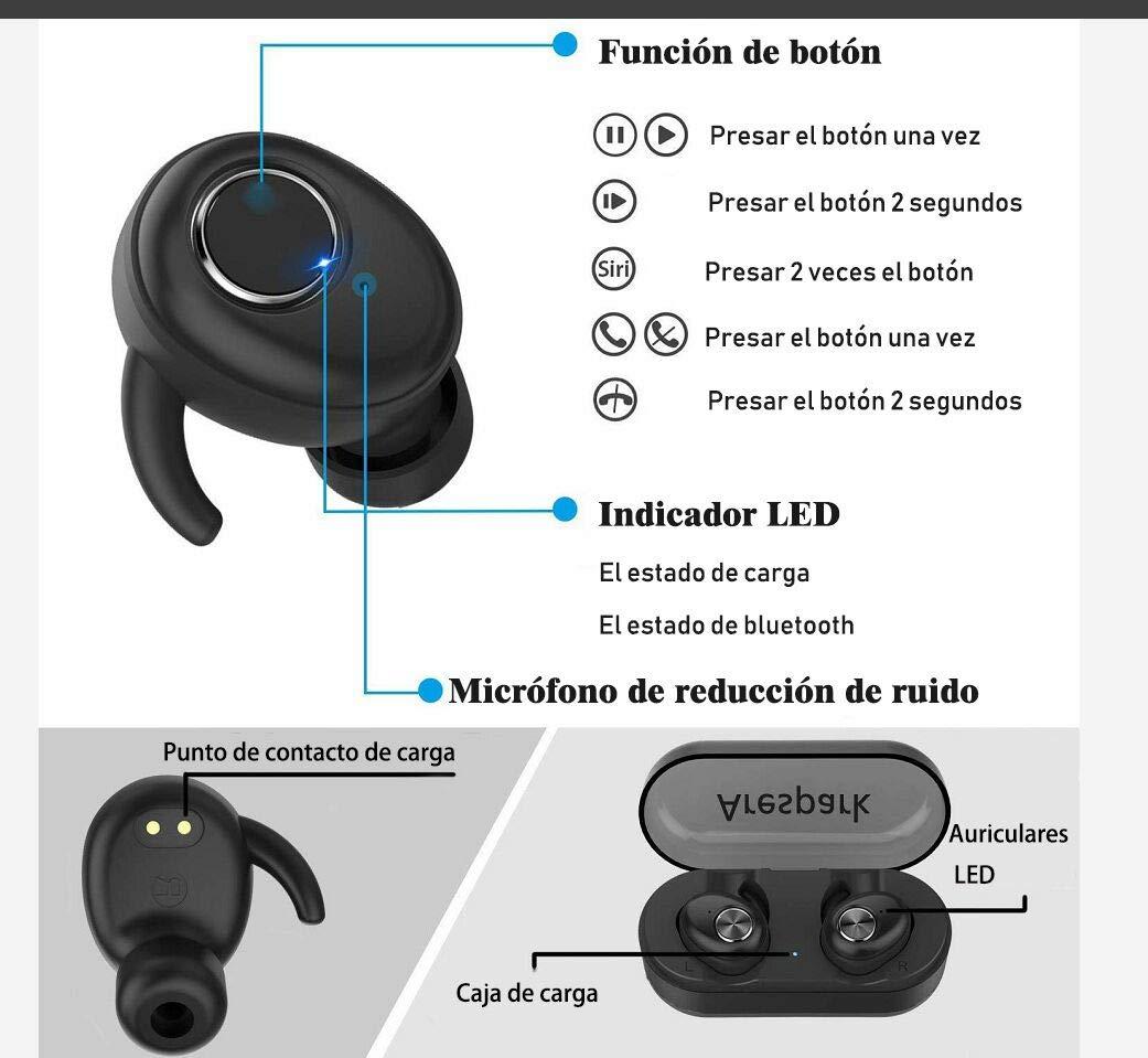 Auriculares Bluetooth Inalámbricos Deportivos, Arespark Mini Twins Stereo Auriculares Manos Libres con Caja de Carga y Micrófono Integrado, Bluetooth 5.0 ...