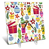 3dRose Anne Marie Baugh - Christmas - Cute Fiesta and Ornaments Pattern - 6x6 Desk Clock (dc_289301_1)