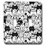 3dRose Noonday Design - Animals - Various black and white cats in different costumes and poses - Light Switch Covers - double toggle switch (lsp_281731_2)