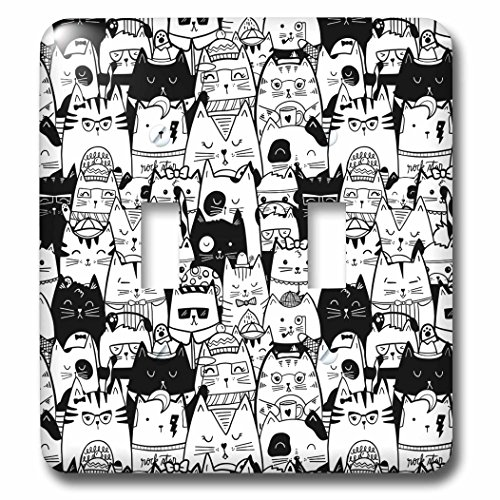 3dRose Noonday Design - Animals - Various black and white cats in different costumes and poses - Light Switch Covers - double toggle switch (lsp_281731_2) by 3dRose
