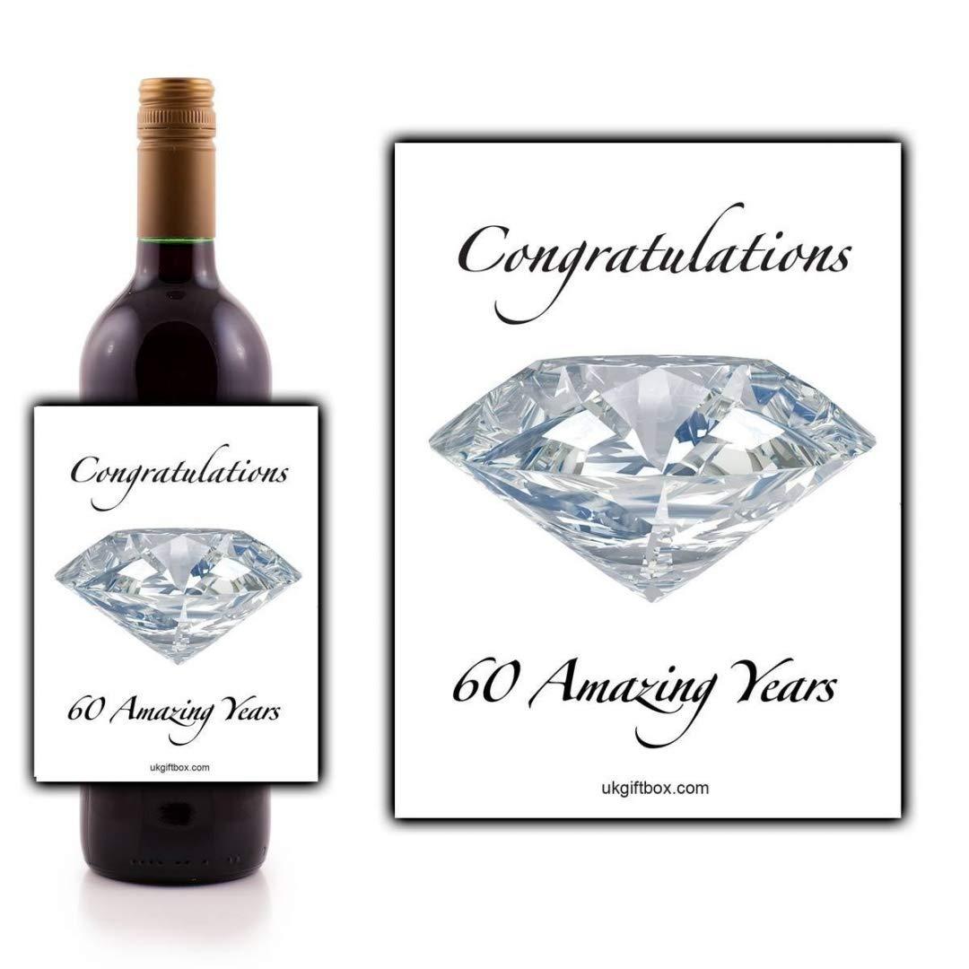 Félicitations 60Amazing ans étiquette de bouteille de vin–parfait pour ajouter une touche spéciale à un cadeau 60e anniversaire ukgiftbox