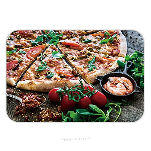 Flannel Microfiber Non-slip Rubber Backing Soft Absorbent Doormat Mat Rug Carpet Tasty Seafood Pizza With Cherries On A Wooden Table 314667857 for Indoor/Outdoor/Bathroom/Kitchen/Workstations