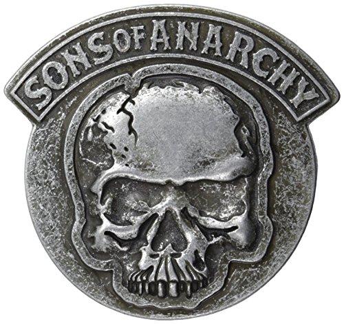 Belt Wholesale Buckle Skull - Sons of Anarchy Men's Embossed Gun Metal Skull Belt Buckle, Gunmetal, One Size