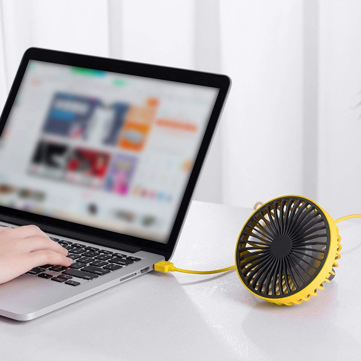 Yellow Eurobuy Portable Car Mini Fan Air Vent Mount 3 Speed USB Charging Cooling Fan with Wire Control Switch Light