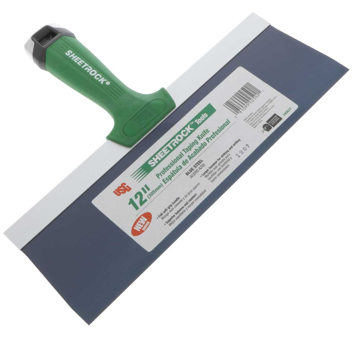 USG Sheetrock Pro Drywall Taping Knife, Blue Steel w/Soft Grip Handle & Hammer End (8-Inch Blade)
