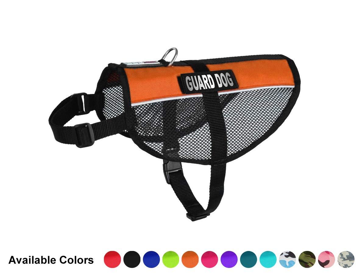 orange Dogline Maxaire Multi-Purpose Mesh Vest for Dogs and 2 Removable Guard Dog Patches, 30 to 38 , orange