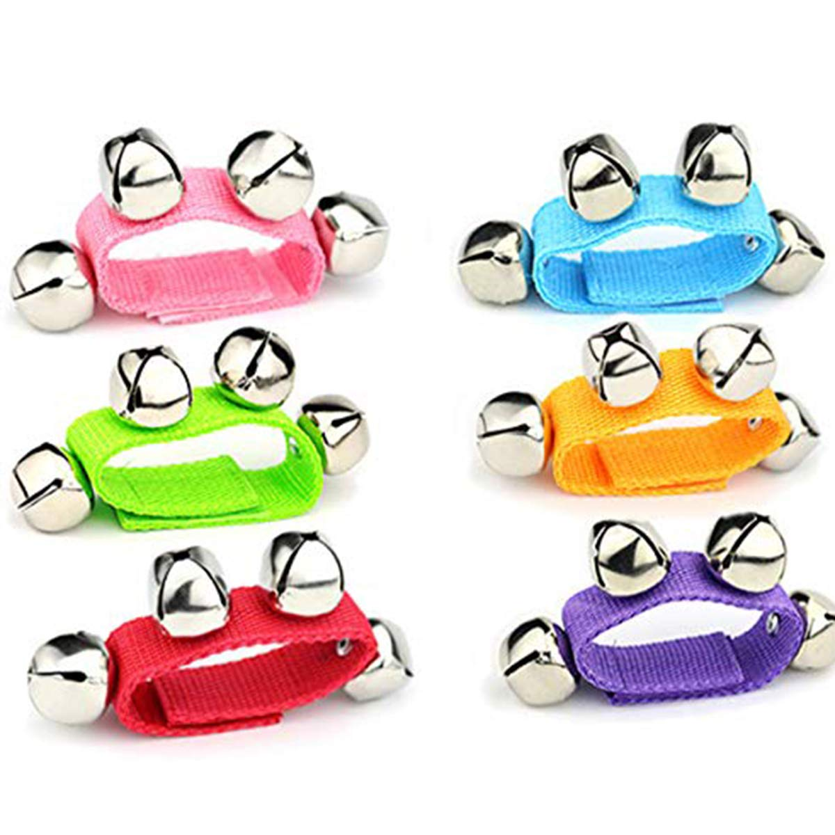 6 Pcs Wrist Band Jingle Bells Musical Rhythm Toys, Children's Instruments for School, 6 Colors