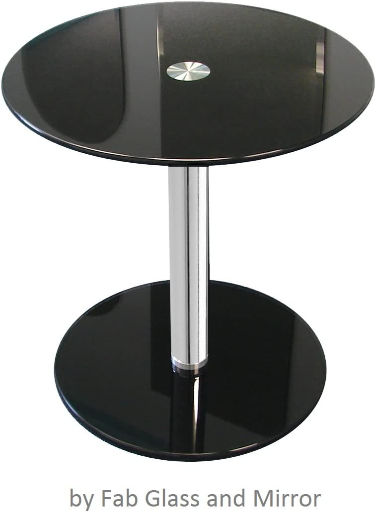 Fab Glass and Mirror 1 2 Inch Black Round Modern Glass 17 3 4 Inch Height Side Coffee Table