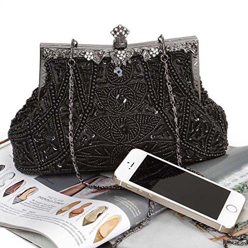 BMC diseño con forma de corona para mujer Monedero diseño de patrón de tela diseño de imitación de diseño de diamantes sandalias planas con sujeción en piñón libre de cóctel gris - Shimmering Silver