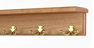 """product image for PegandRail Solid Cherry Shelf Coat Rack with Solid Brass Double Style Hooks (Cherry, 16"""" with 3 Hooks)"""