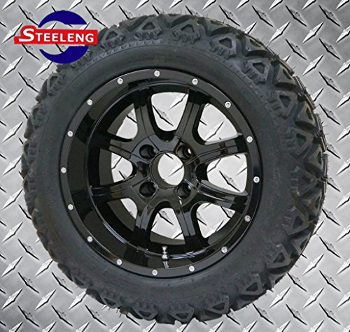 "GOLF CART 14""x7"" NIGHT STALKER WHEELS and 23""x10""-14"" ALL TERRAIN TIRES (SET OF 4)"