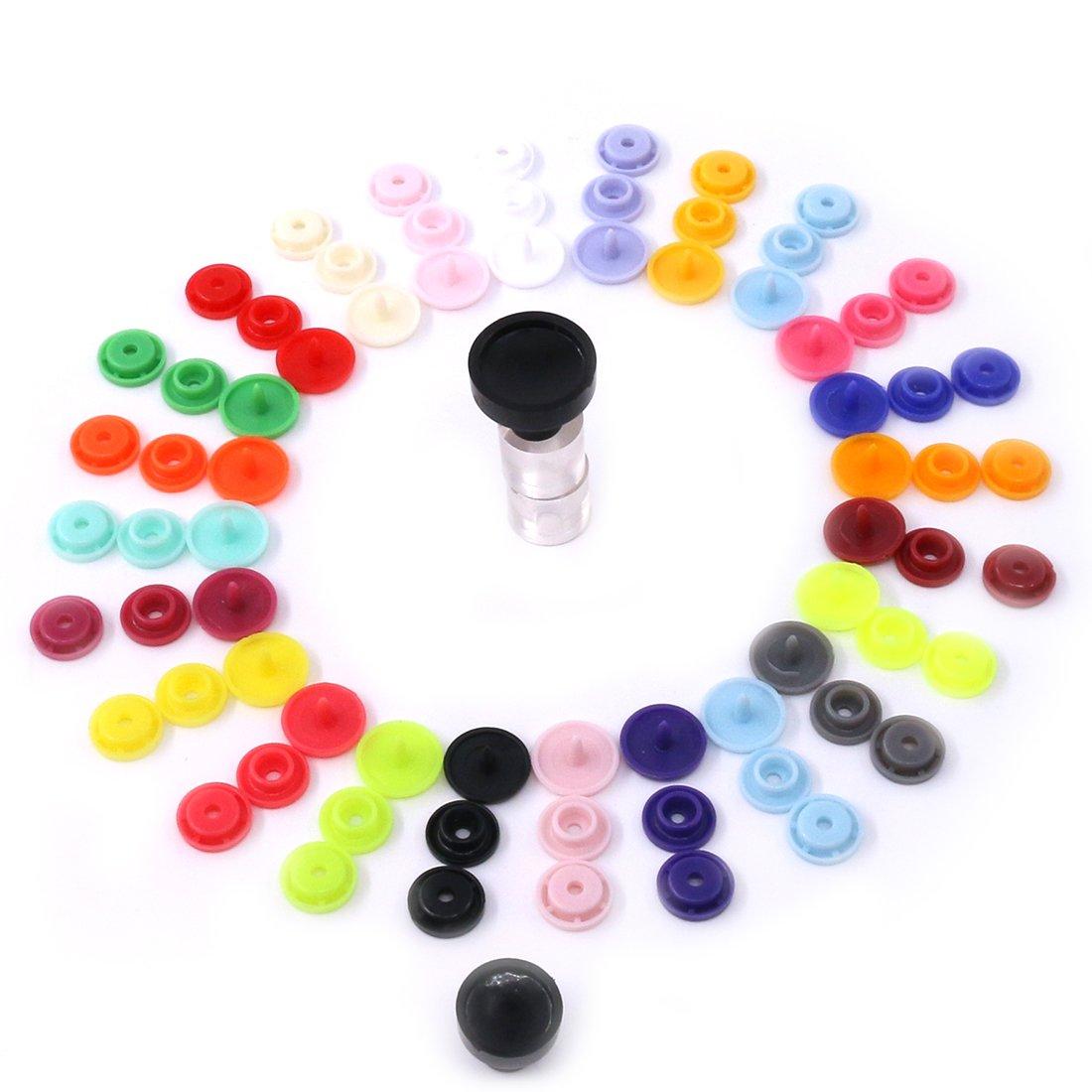 Glarks 384pcs T5 KAM Snaps Botones de plástico con broches de presión alicates Set para costura de ropa, baberos, abrigo de lluvia manualidades: Amazon.es: ...