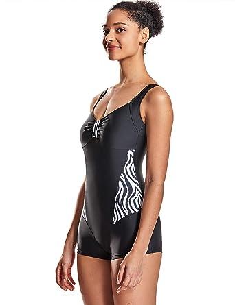 1dac9cba91b DELIMIRA Women One Piece Swimsuit Tummy Control Boyleg Slimming Printed Bathing  Suit Black US 4-