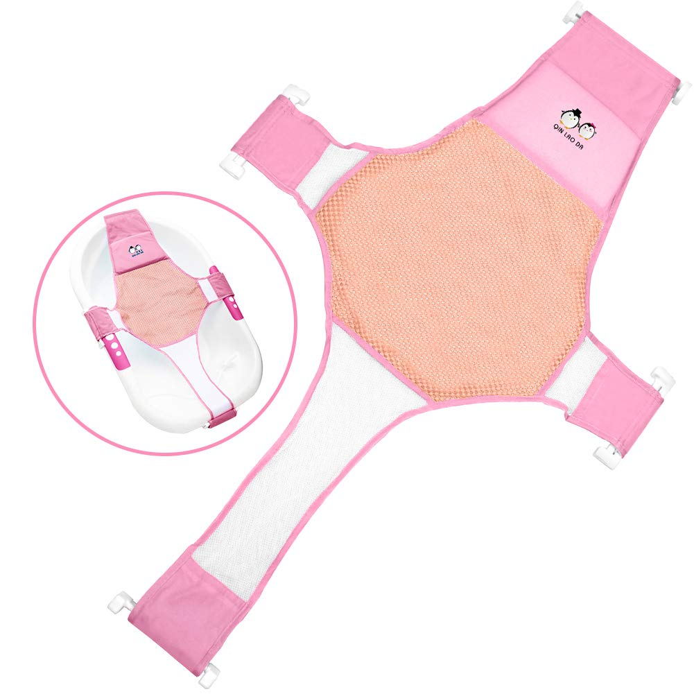 StillCool Infant Baby Bath Sling Shower Mesh Bathing Cradle Rings for Tub (Bathtub not Included)(Pink)