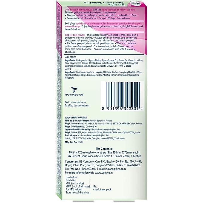 Veet Instant Waxing Kit for Dry Skin, 8 strips