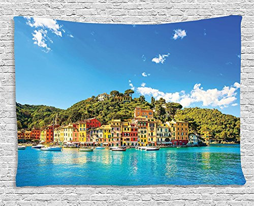 asddcdfdd Village Decor Tapestry, Mediterranean European Town by the Sea Portofino Italian Harbor Panorama, Wall Hanging for Bedroom Living Room Dorm, 80WX60L Inches, Blue (Portofino Tapestry Wall Hanging)