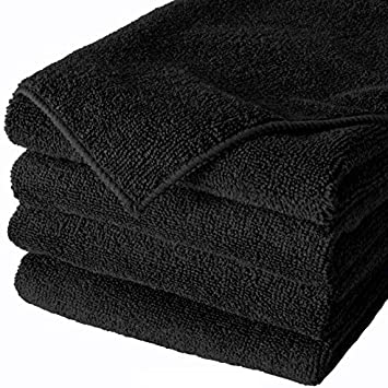 144 new black microfiber towel new cleaning cloths bulk 16x16 sale best deal