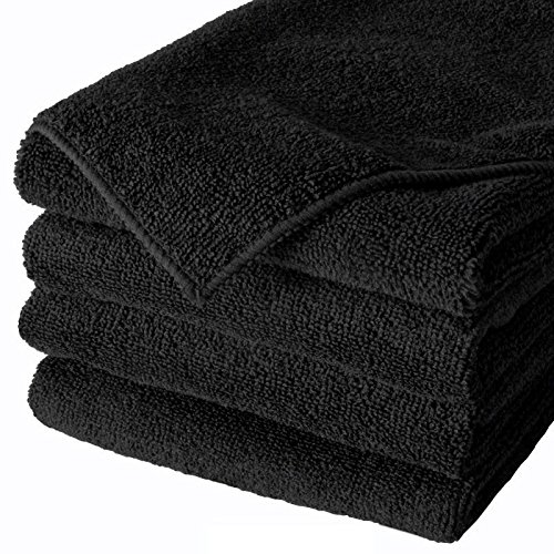 100pc Microfiber towel new cleaning cloths bulk 16x16 300 gsm!! Thick & plush (Color Black)