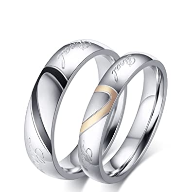 Beydodo Promise Rings 2 Pc Stainless Steel Rings Matching Puzzle Heart Ring Women Size 10 & Men Size 10|Amazon.com