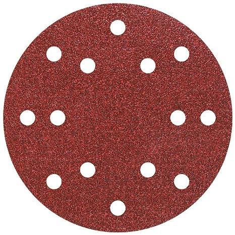 corind/ón Grano 40,80,120 Perforado 150mm Wolfcraft 8404000 8404000-10 Discos de Lija Auto-Adhesivos Set de 10 Piezas