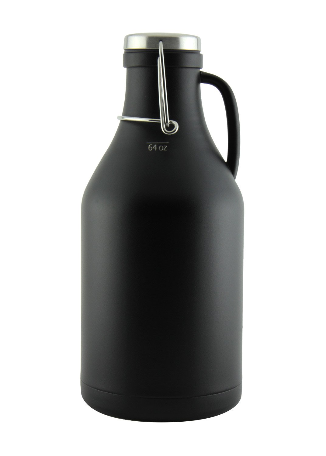 The Grizzly - 64 oz Double Wall Stainless Steel Flip Top Beer Growler - Black