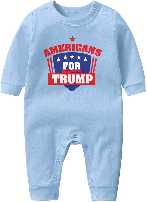 kanidjkd Americans 4 Trump Baby Boys Girls Long Sleeve Baby Onesie Funny Onesies