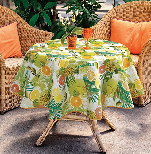"Ottomanson Multicolor Tropical Fruit Design Vinyl Indoor & Outdoor Non-Woven Backing 55"" Round Kitchen Picnic Tablecloth - A must have tablecloth in every house to protect your tables from wear, tear, damage, stain and spills. 