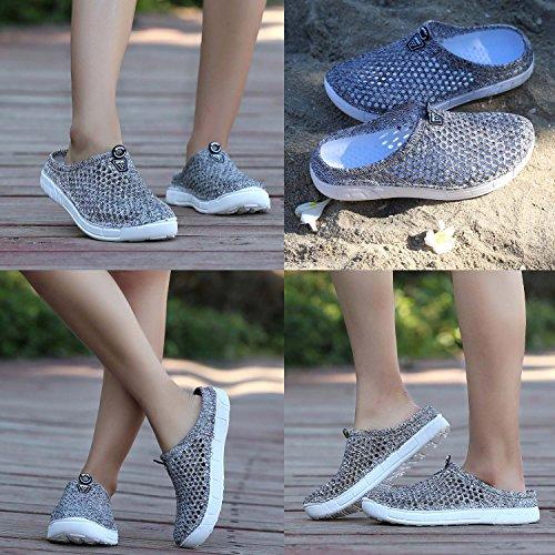 Transpirable Zapatillas Para Mujer Rápido Malla de Ligera Sandalias Gris Zapatillas de Jardín Secado y Calzado de Playa Antideslizante OUTVIE twHFvxqx