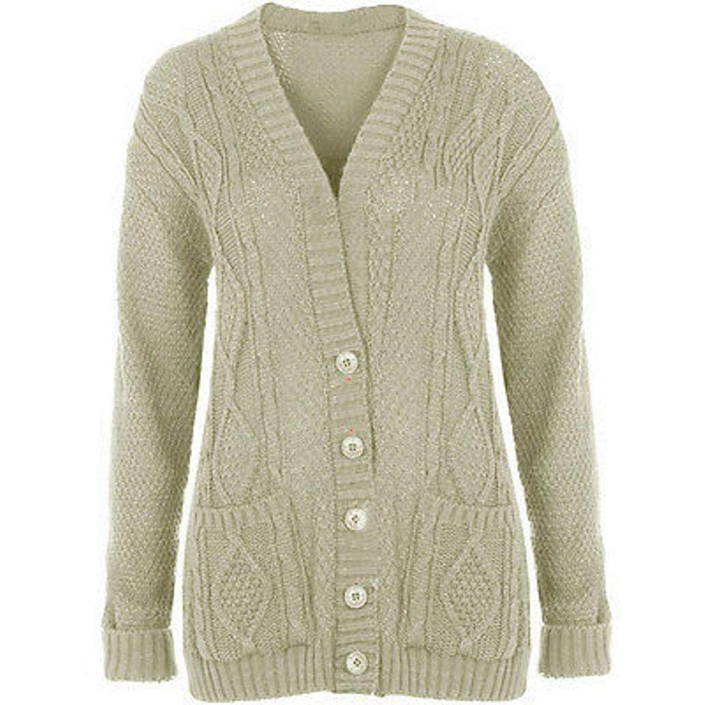 Purple Hanger Long Sleeve Full Length Cable Knit Knitted Boyfriend Cardigan Size 8 10 12 14 SML XL