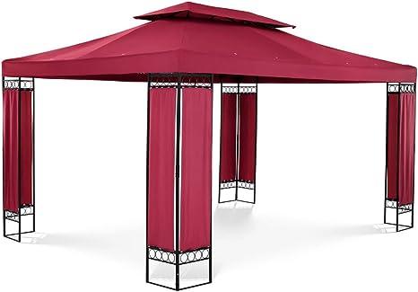 Uniprodo Pérgola De Metal Cenador para Jardín Uni_PERGOLA_3X4RF (Dimensiones: 3 x 4 m, Altura Total: 2,60 m, Densidad de la Lona: 160 g/m2, Color ...