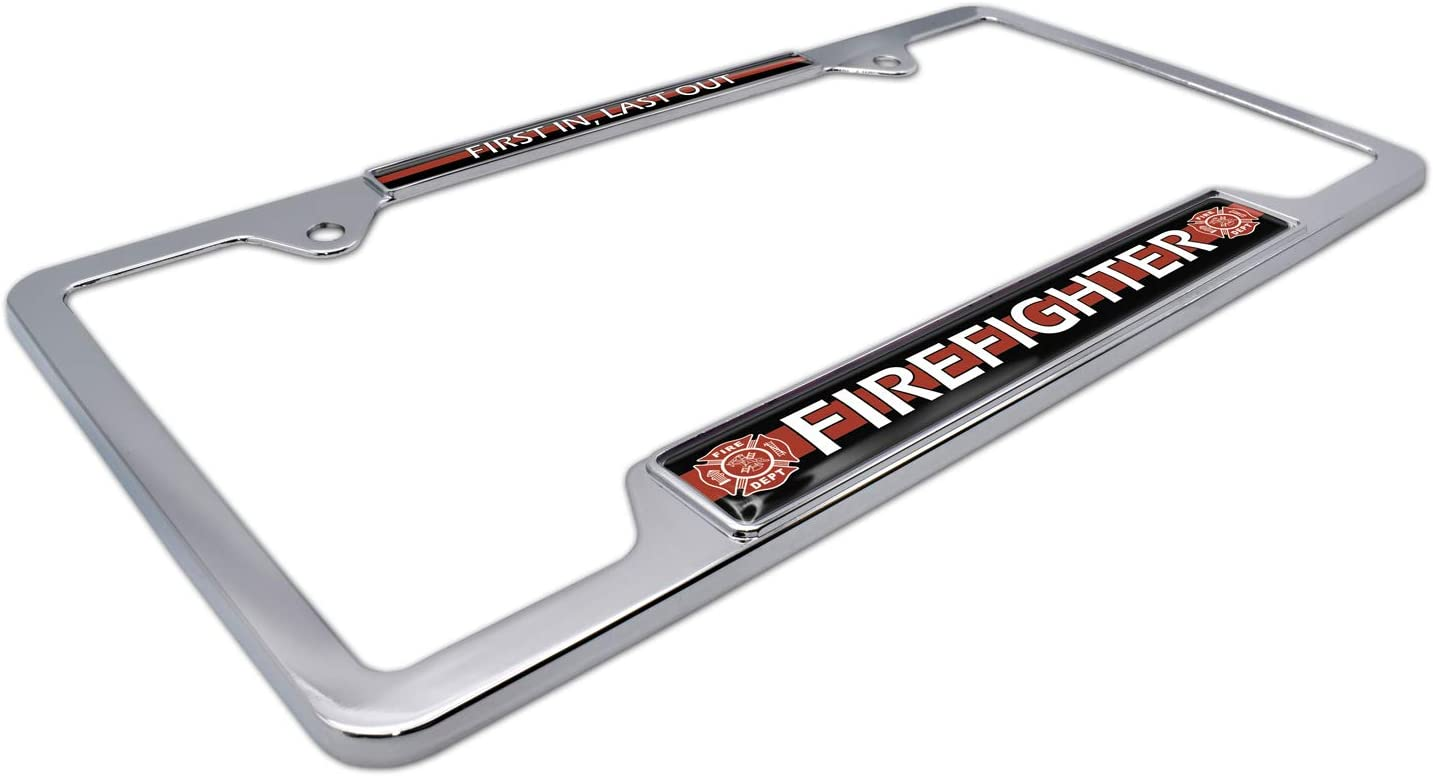 Elektroplate Firefighter First in Last Out 3D License Plate Frame