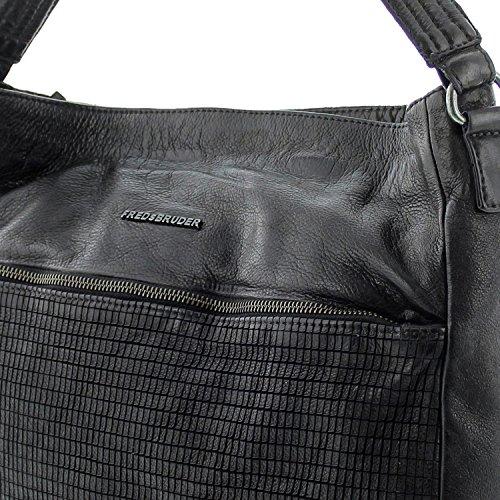 FREDsBRUDER Londoner Borsa a spalla pelle 34 cm black_black, schwarz