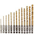 SENZEAL 13x 1/4 Twist Drills Bit da trapano in acciaio ad alta velocità Cobalt Trapano con Codolo Esagonale Drill Set Strumenti 1.5-6.5mm